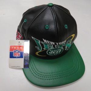 0c5b33cc9843e Pro Elite Accessories - NY Jets Genuine Leather Strapback Hat NFL Pro